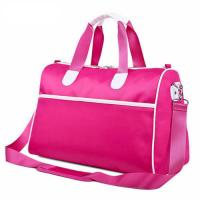 Cheap Pink Custom Duffle Bags with Adjustable Shoulder Strap , Collapsible Travel Bag wholesale