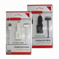 Cheap 2-in-1 USB Car Chargers, High Quality Products, for iPhone/Micro wholesale