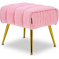 Cheap Tufted Footrest Modern Ottoman Stool Trapezoid Gold Tone Metal Legs Durable wholesale