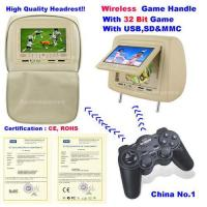 Cheap 7 inch car Headrest DVD player with Divx/ USB/SD/MMC/FM/IR transmitter wholesale