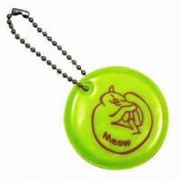 Cheap Round-shaped Soft Reflectors in Yellow, with Short Ball Chain wholesale