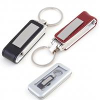 High Tech Engraved Leather USB Flash Drive , Brown / Black  Leather Usb Keychain