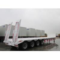 Cheap CIMC 65 ton new gooseneck low bed tri-axle low bed transport loader  trailers with spring ladder for sale wholesale