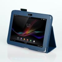 Quality 10.1 Inch Sony Tablet Leather Case For Xperia Z Color Dark Blue Dustproof for sale