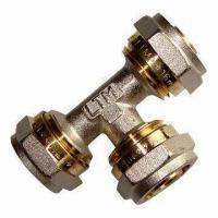 Buy cheap Brass Fitting Tee with Nickel Plating, for PEX-AL-PEX Pipe, Multilayer from wholesalers