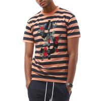 China Summer Fashionable Mens T Shirts , Short Sleeves Striped T Shirts 100% Cotton on sale