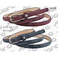 Cheap 1cm Width Special Fabric PU Thin Womens Belt With Metal Studs In The Loop wholesale