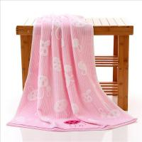 Woven Rabbits Pink Bamboo Bath Towels / Adult Beach Towels For Swimming
