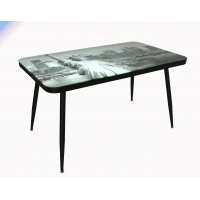 Cheap New York Printing Simplicity Tempered Glass Top Dining Table For 6 Seats wholesale