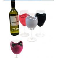 Quality Decorative 3mm neoprene wine glass cooler with embroidery monogram logo for sale