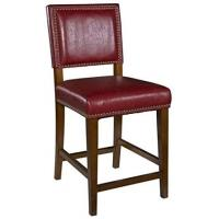 "Cheap 24"" Faux Leather Counter Stool , Padded Bar Chairs Red Walnut Finish Frame wholesale"