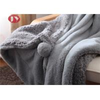 Cheap Grey Plush Throw Blanket Fuzzy Soft faux fur Blanket Microfiber with pompom for Couch Sofa Bed wholesale