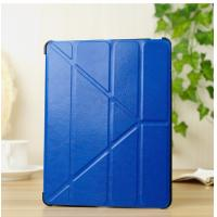 Cheap Folding Blue IPad 5 Leather Case Stand With Sleep / Wake UP 100% Compatible wholesale