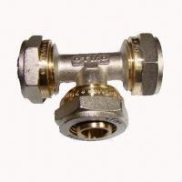 Buy cheap Brass fittings, equal tee, nickel-plated, for PEX-AL-PEX water pipe from wholesalers