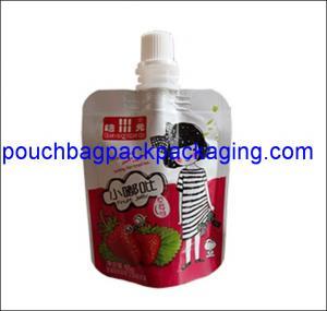 Cheap Aluminum foil spout pouch, High barrier laminated stand up spout pouch shape bag for juice packaging wholesale