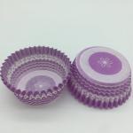 Cheap Purple Round Shape Muffin Paper Cups, Striped Cupcake LinersFDA SGS Standard wholesale