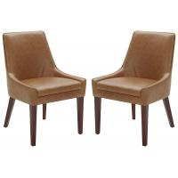 "Cheap Rivet Modern Leather Dining Chairs , Welt Trimmed Leather And Metal Dining Chairs 35 "" H Cognac wholesale"