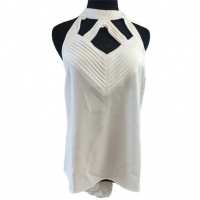 Hollow Out White 100% Viscose Women'S Tank Tops With Round Collar