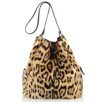 Cheap Leopard Print Cow Hair Hobo Leather Handbags Bucket Style Inside Cotton Lining Drawstring Closure wholesale