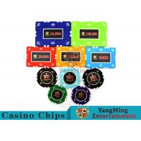 Cheap Circular / Square Shape Professional Poker Chip Set With 25 Pcs In A Shrink Roll wholesale