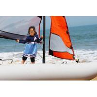 70KGS Inflatable Sailing Boat White Portable Pontoon Boats With 5m Mast