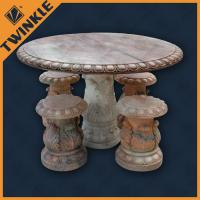 Cheap Red Marble Garden Ornaments For Decoration With Round Table , Hand Carved wholesale
