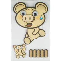 Cheap Offset Printed Running Piggy 3D Cartoon Stickers For Mobile Phone Decor wholesale