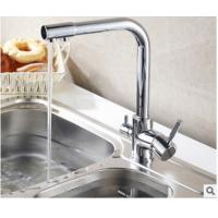 Cheap 3 In 1 Brass Gooseneck Kitchen Faucet Connect Pure Water Hot Cold Water In Kitchen wholesale