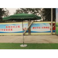 Cheap Green Large Square Umbrella With 50 Kg Marble Base , Square Steel Tube Frame wholesale