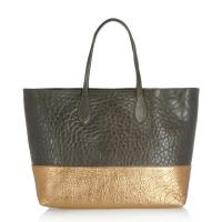 Cheap Two Color Joint Leather Shopper Bag , Natural Texture Luxury Leather Bag wholesale