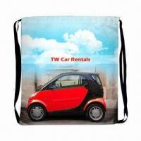 Cheap Sublimation Drawstring Backpack with Black 1cm Webbing Strap wholesale