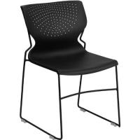 Cheap Black Plastic Stacking Chairs Full Back Plastic Stack Office Side Chair wholesale