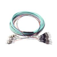 Cheap Pre Terminated OM3 Break Out FC To ST Ribbon 6 Fiber Optic Patch Cord Auqa Jacket wholesale
