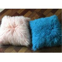 Mongolian Fur PIllow Home Decor  Genuine Mongolian Tibetan Sheepskin Lamb Wool Pink Throw Pillow
