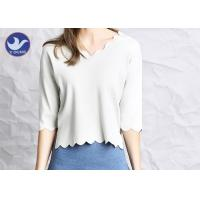 Cheap Wavy Edge Womens Knit Pullover Sweater Half Sleeves Short Body Summer Knitwear wholesale