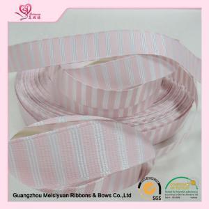 38mm Pink custom wedding ribbon , stretch satin ribbon emboss printing Technics