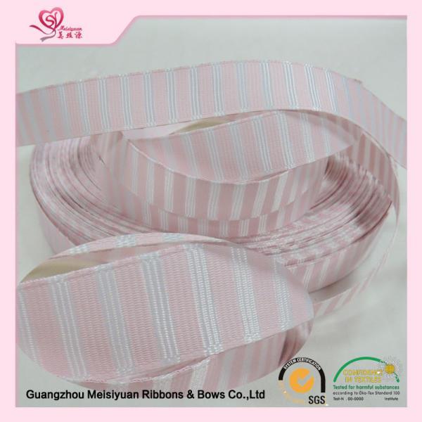 Quality 38mm Pink custom wedding ribbon , stretch satin ribbon emboss printing Technics for sale