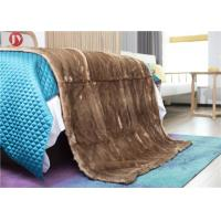 Cheap Warm Coffee Faux Fur Blanket Throw Rabbit Micro Mink Back For Couch Bed wholesale
