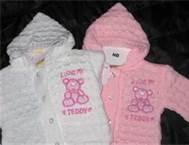 Cheap Beautiful Pink Angel knitting baby cardigan Anti - Pilling with crocheted flower wholesale