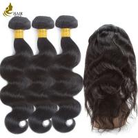 Buy cheap Pre-Colored Brazilan Hair Body Wave 3 Bundles With 360 Lace Frontal Closure from wholesalers