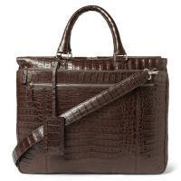 Cheap Luxury Crocodile Embossed Mens Leather Briefcase Bag , Zipper Pocket Inside / Laptop Pocket wholesale
