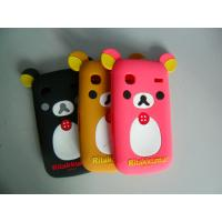 Cheap Black / Red / Brown Komatsu Bear Shape Cell Phone Silicone Case With Embossed Logo wholesale