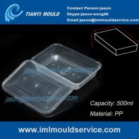 Cheap PP 500ml clear thin wall rectangular plastic takeaway food storage mold wholesale