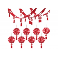 Cheap Chinese Red Fu Thick 3D 10ft Felt Lanterns With Happy New Year Banner wholesale