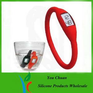Cheap Waterproof Black / Orange / Green Anion Silicone Wristband Watch 16cm /17cm / 18cm wholesale