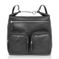 Quality Matte Black Grain Leather Handmade Leather Bckapck Bag , Bright Silver Metal YKK for sale