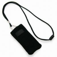 Cheap Handy Mobile Phone Sock Lanyard with Woven Label and Adjustor Attached, Made of Polyester wholesale