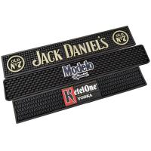 China Black Soft Touch PVC Rubber Custom Design Bar Mat Spill Mat Rail Drip Mat on sale