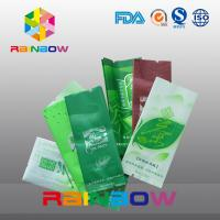 China Moisture Proof Side Gusset Tea Bags Packaging With Tear Notch , Green on sale