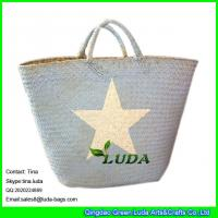 China LUDA imitated palm leaf beach straw bags wholesale Seagrass Straw handbag on sale